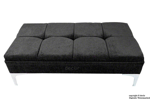 Mila Buttoned Footstool - Black with Optional Storage