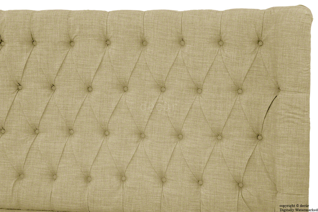 Hollyrood Buttoned Linen Winged Headboard - Sand