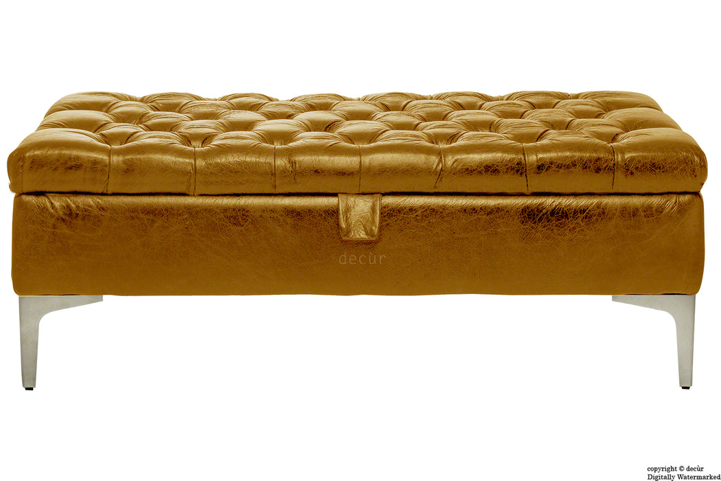 Wraith Leather Vintage Footstool - Whiskey