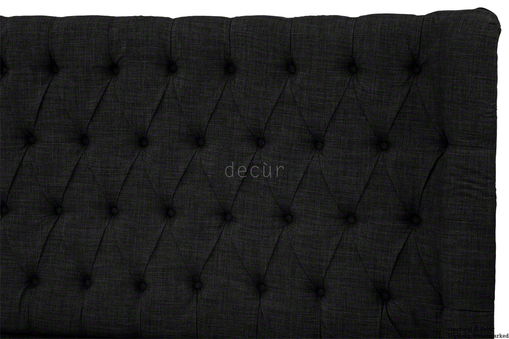 Hollyrood Linen Upholstered Winged Ottoman Bed - Black