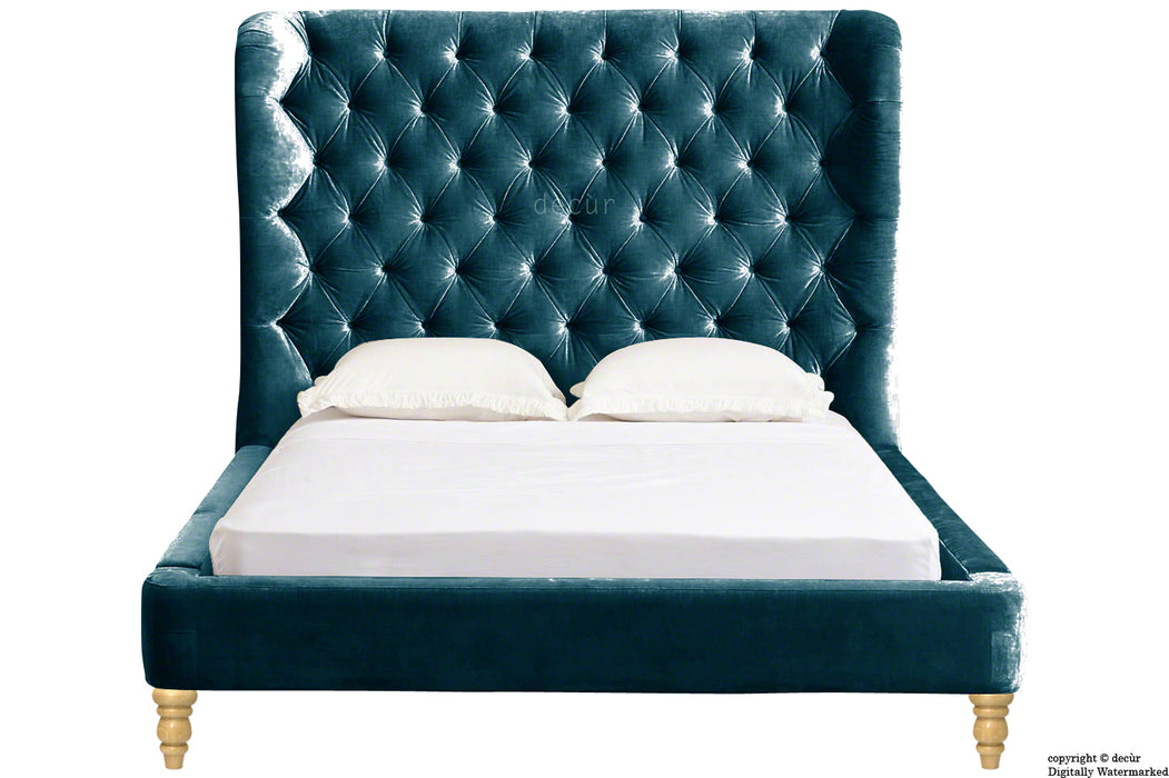 Knightsbridge Winged Velvet Upholstered Bed - Peacock