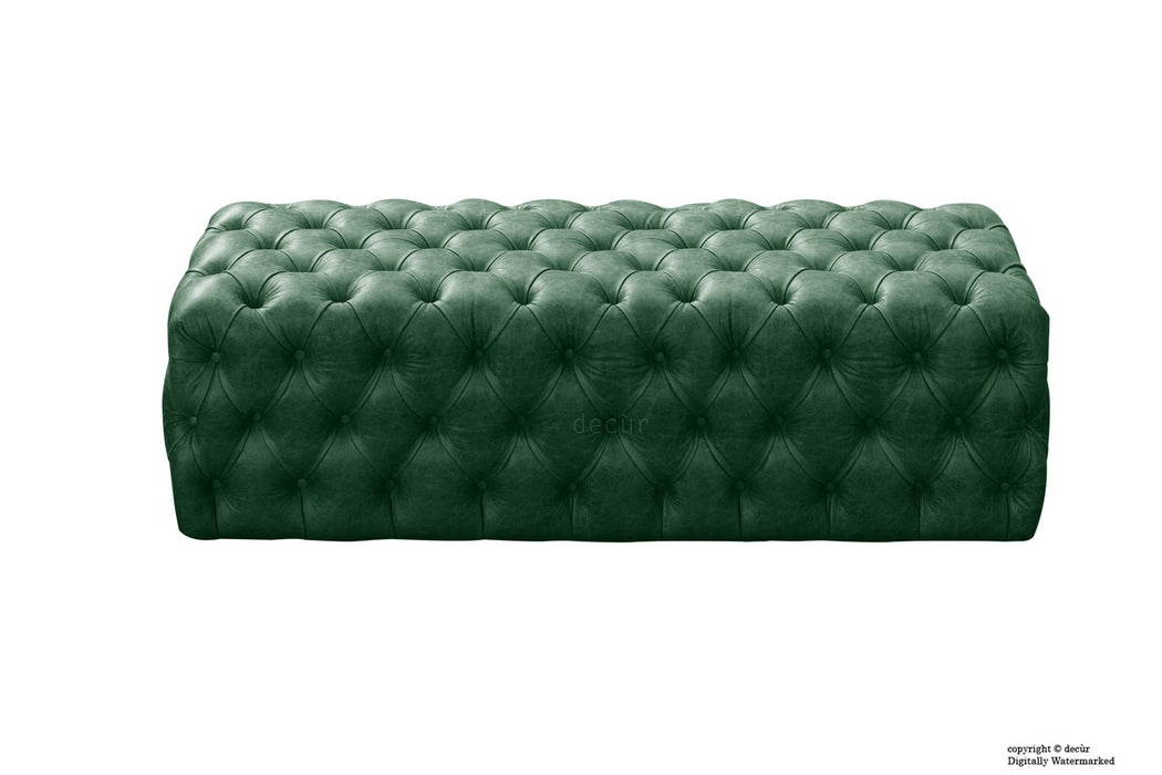 Oliver Buttoned Leather Ottoman - Green