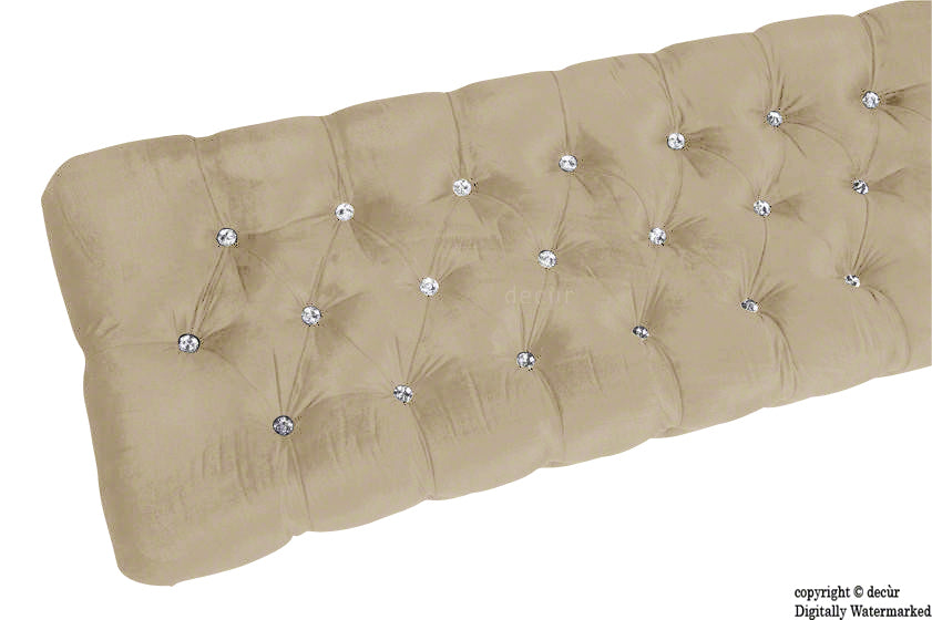 Serena Buttoned Velvet Footstool Bench - Putty