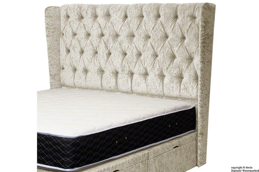 Eliza Winged Buttoned Crushed Velvet Headboard - Pearl