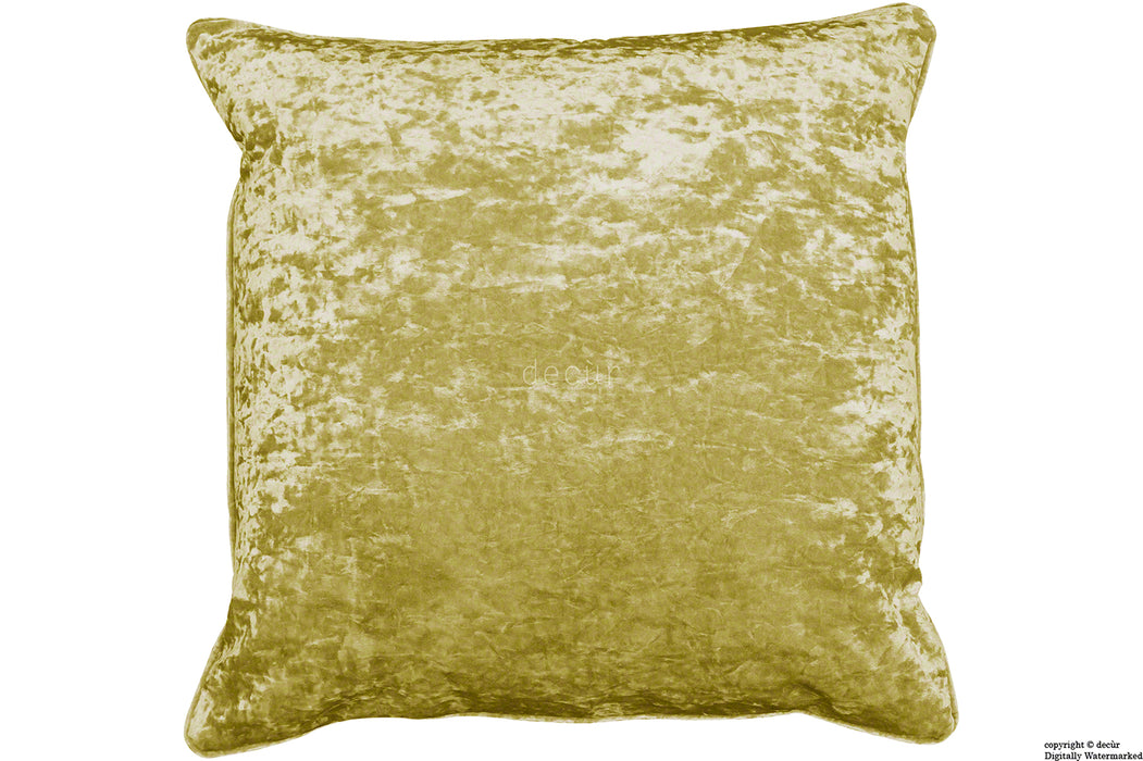 Serenity Crushed Velvet Cushion - Chartreuse