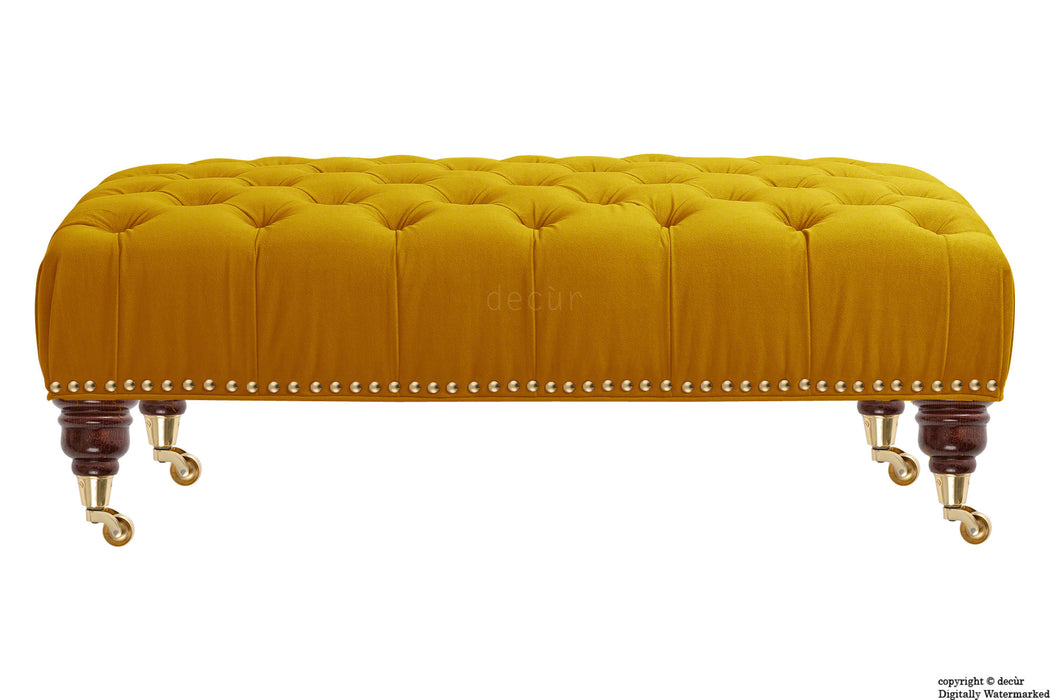 Catherine Buttoned Velvet Footstool - Gold with Optional Storage