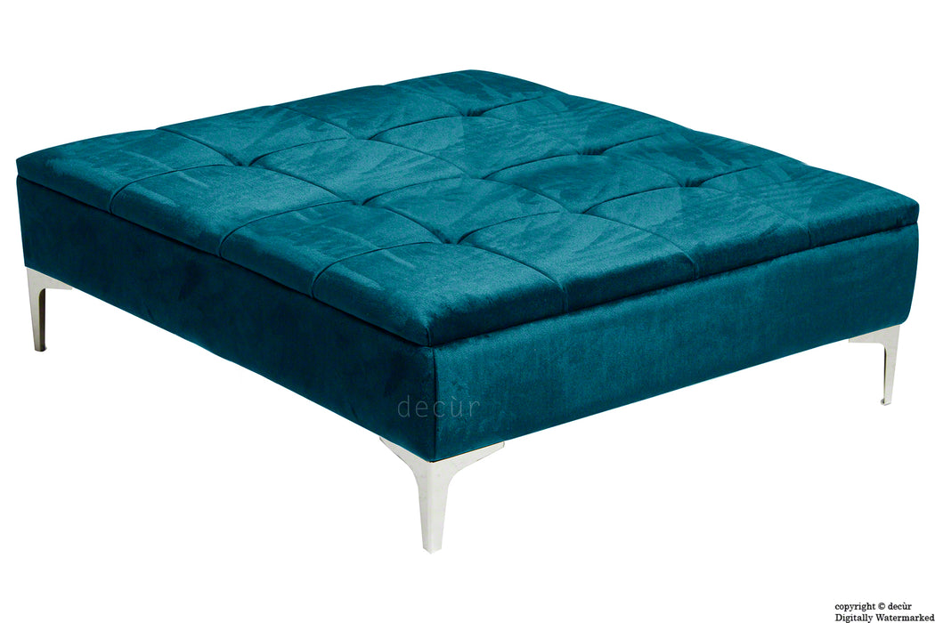 Mila Modern Buttoned Velvet Footstool Large - Peacock with Optional Storage