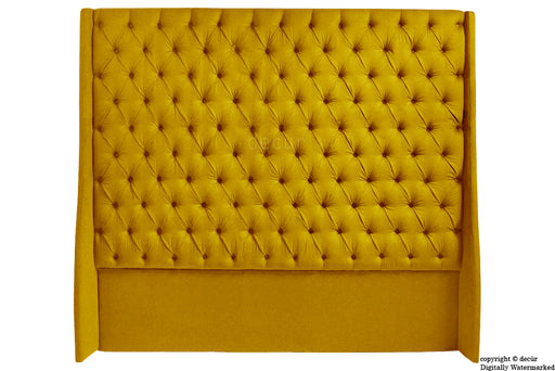 Abbingdon Buttoned Winged Velvet Headboard - Gold