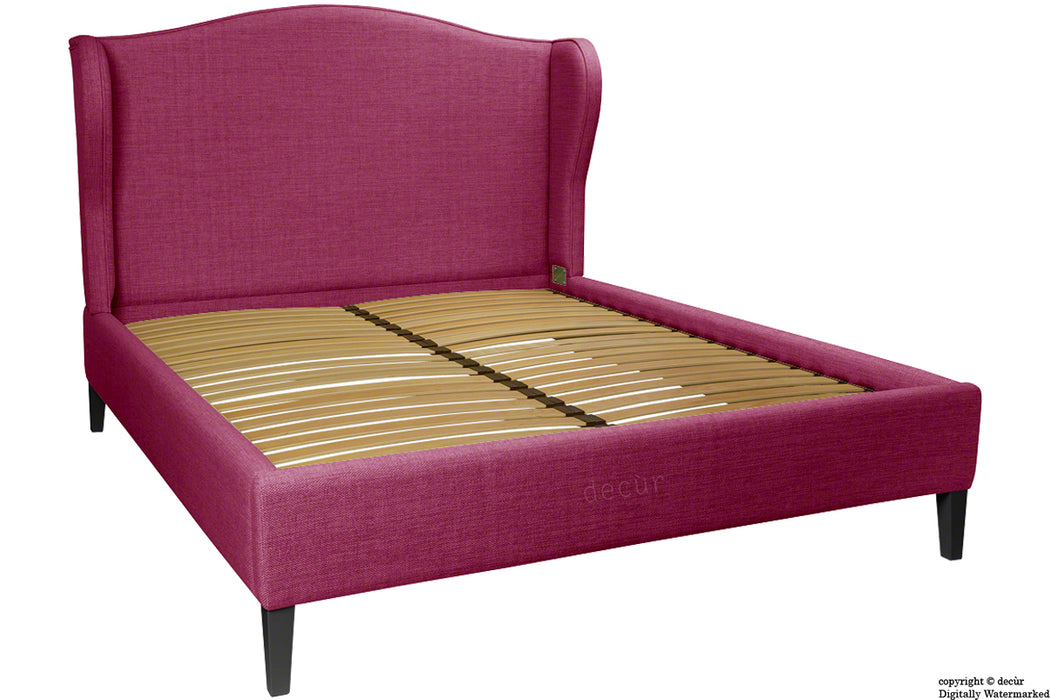 Regency Linen Winged Bed - Fuchsia