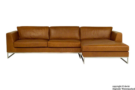 Penthouse Leather Corner Sofa - Tan