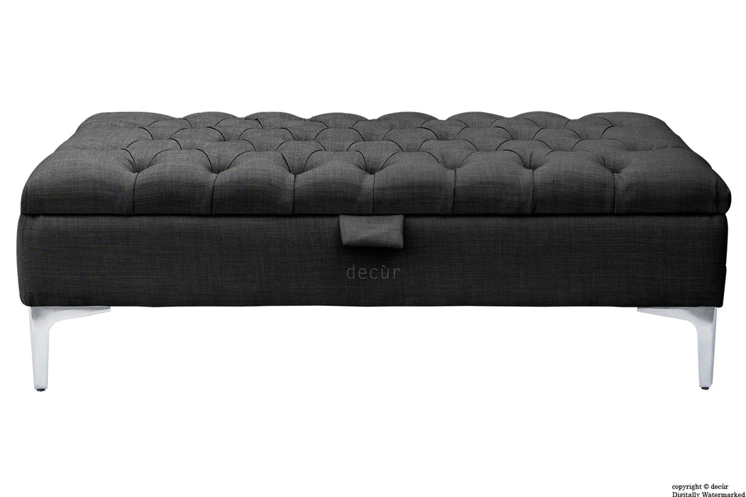 Tiffany Modern Buttoned Linen Footstool - Ebony Black with Optional Storage