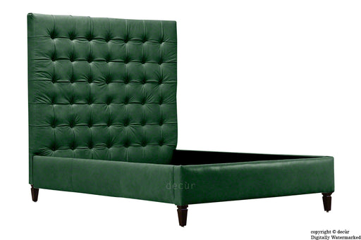 Grace Upholstered Leather Bed - Forest Green (Faux Leather Options)
