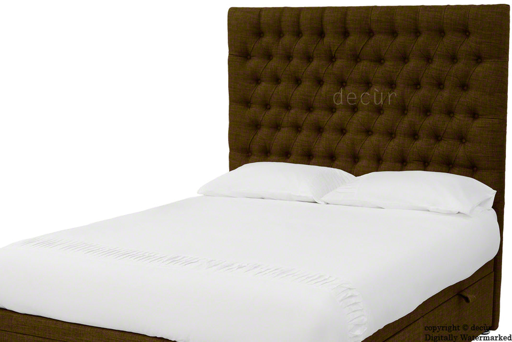 Kensington Buttoned Linen Headboard - Brown