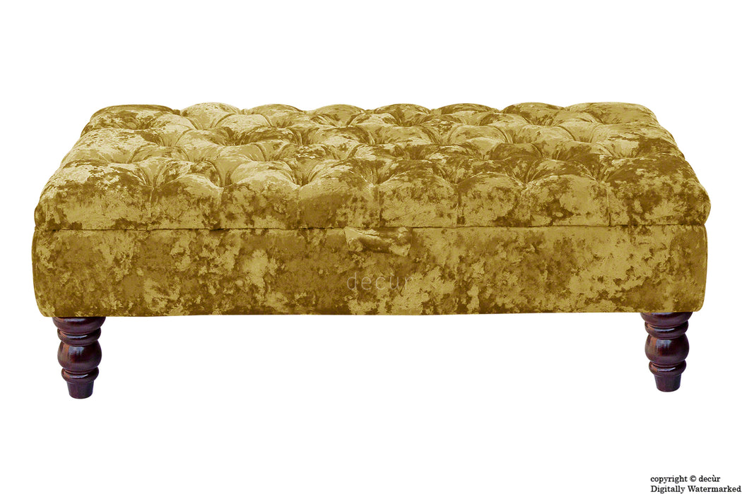 Tiffany Buttoned Crushed Velvet Footstool - Gilded with Optional Storage