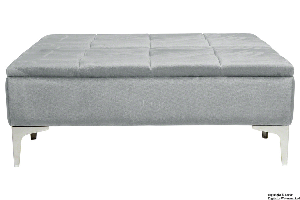 Mila Modern Buttoned Velvet Footstool Large - Silver with Optional Storage