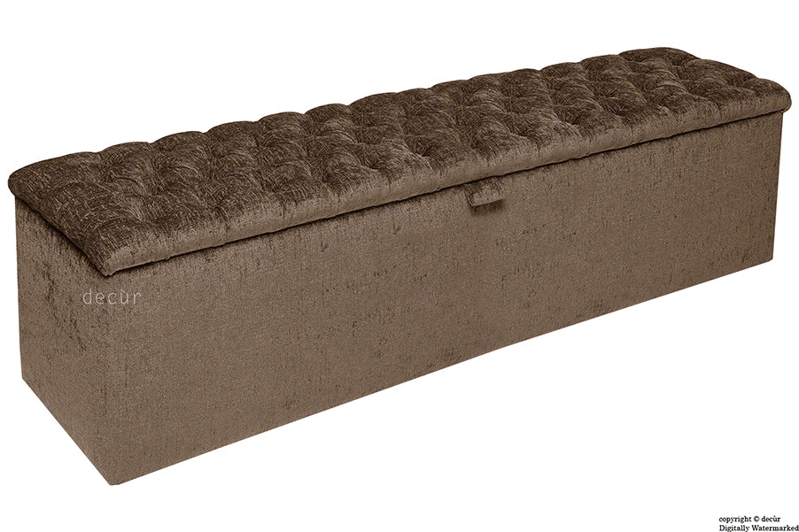 Viscount Chesterfield Chenille Ottoman - Chestnut