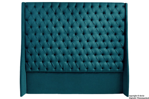 Abbingdon Buttoned Winged Velvet Headboard - Peacock