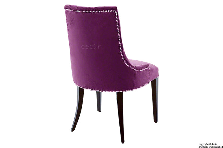 Magdalin Deep Buttoned Velvet Dining Chair  - Boysenberry