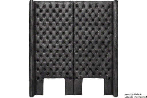 Beauchamp Buttoned Courtyard Leather Headboard Black