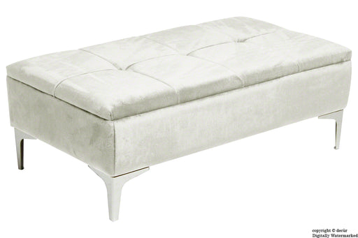 Mila Modern Buttoned Velvet Footstool - Cream with Optional Storage
