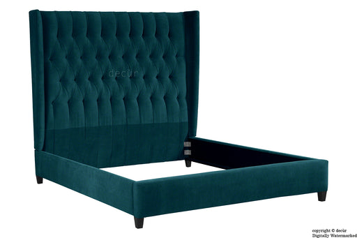 Adlington Velvet Upholstered Winged Bed - Peacock