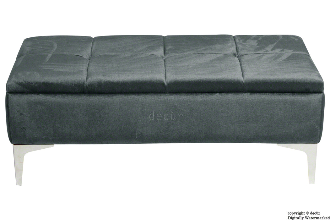 Mila Modern Buttoned Velvet Footstool - Slate with Optional Storage