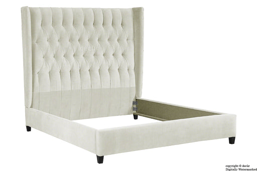 Adlington Velvet Upholstered Winged Bed - Cream