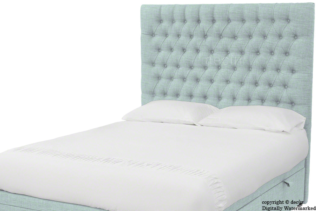 Kensington Buttoned Linen Headboard - Sky Duck Egg Blue