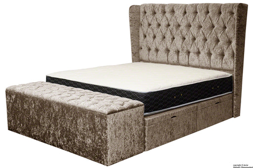 Elizabeth Winged Buttoned Crushed Velvet Bed - Truffle