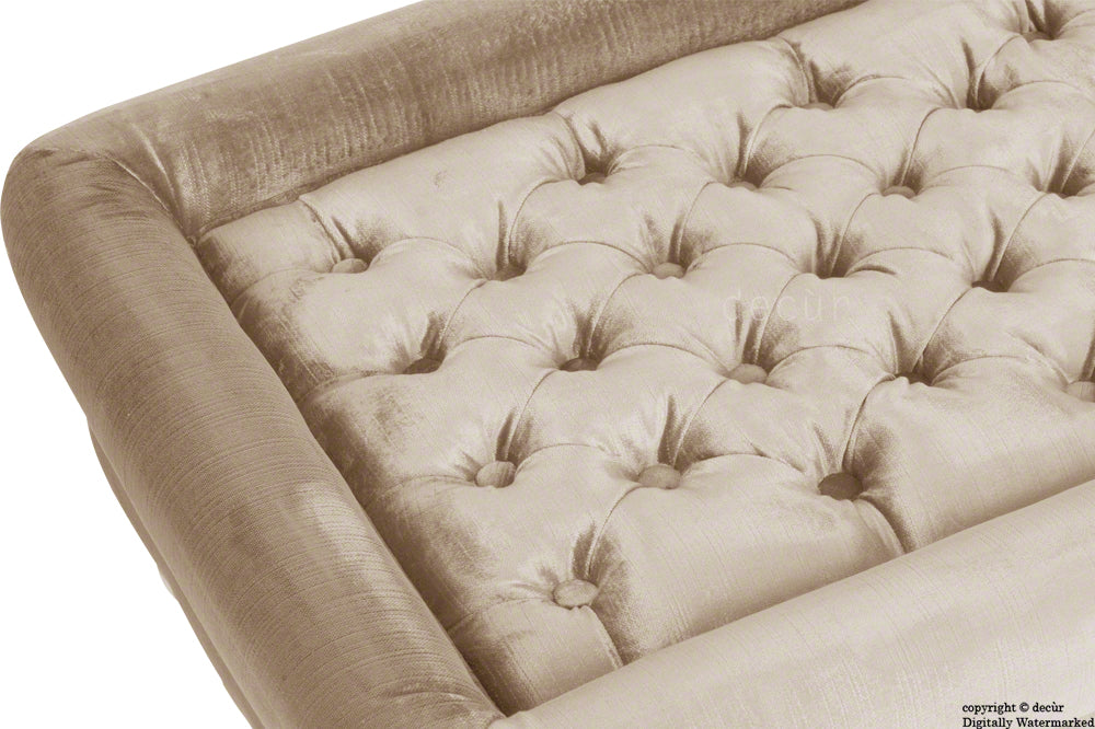 Cavendish Buttoned Velvet Footstool - Putty