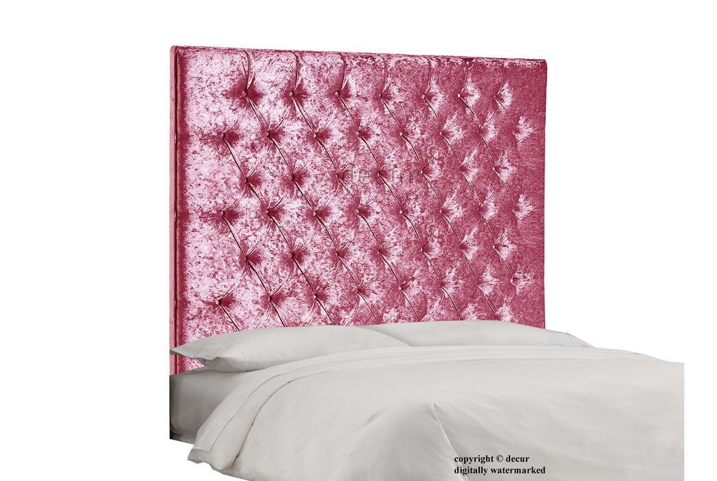 Tiffany Harrogate Buttoned Wall Crushed Velvet Headboard - Boysenberry