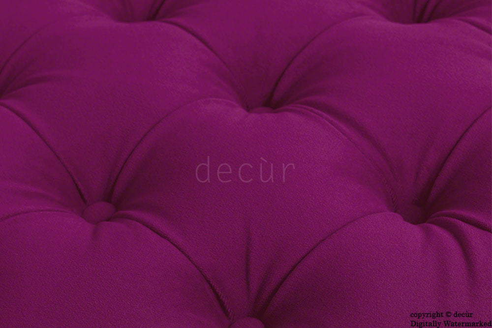 Catherine Buttoned Velvet Footstool - Boysenberry with Optional Storage