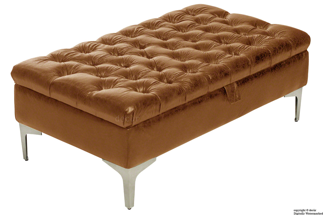 Wraith Leather Vintage Footstool - Sherry