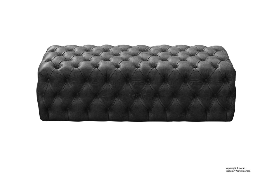 Oliver Buttoned Leather Ottoman - Black