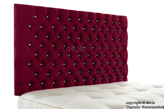 Tiffany Harrogate Buttoned Wall High Chenille Headboard - Pink