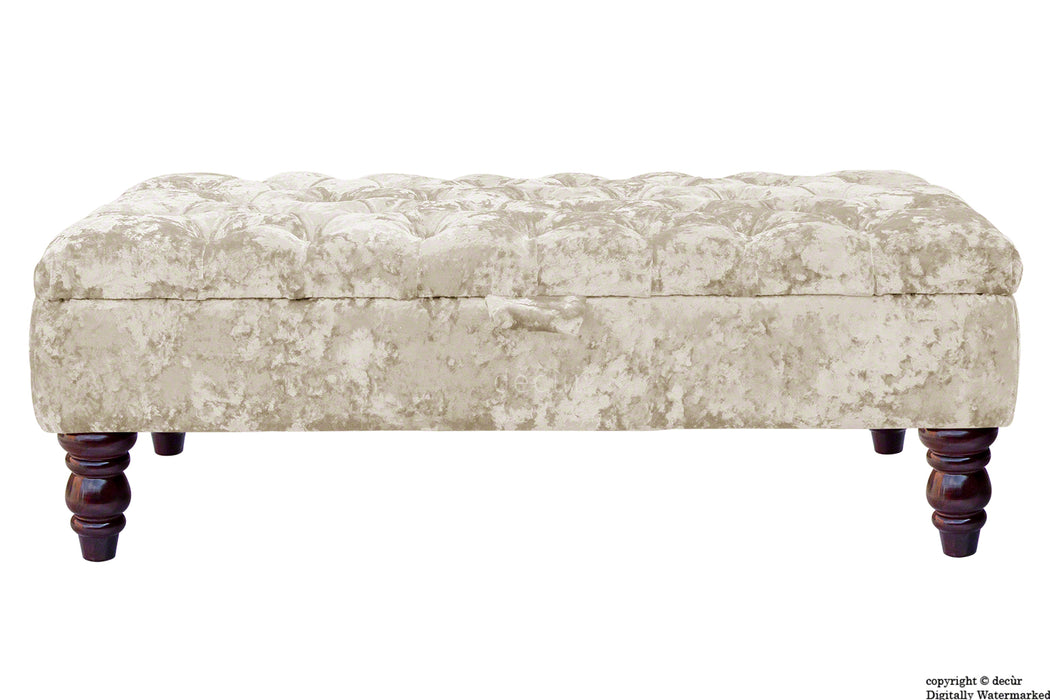 Tiffany Buttoned Crushed Velvet Footstool - Chalk with Optional Storage
