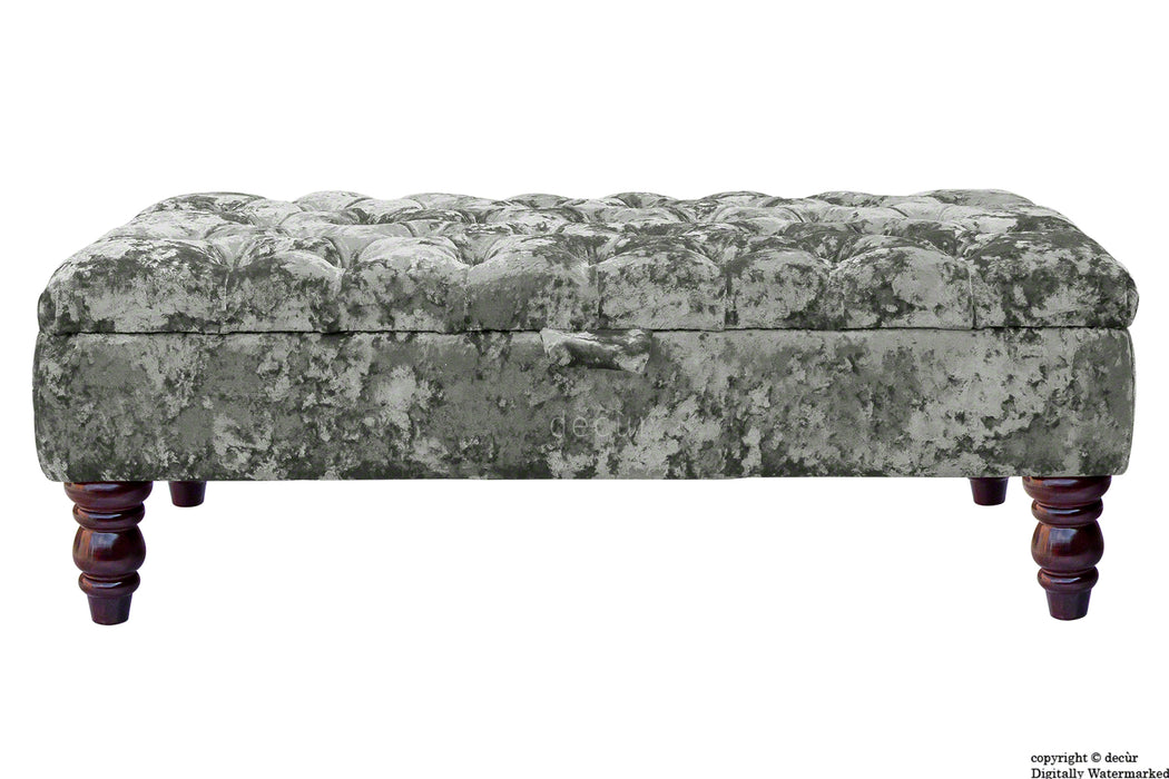 Tiffany Buttoned Crushed Velvet Footstool - Flint with Optional Storage