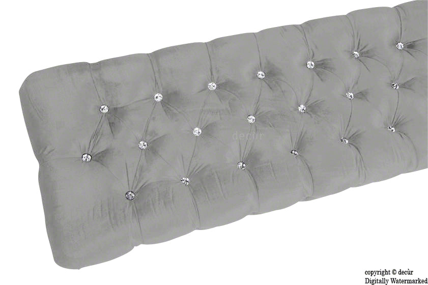 Serena Buttoned Velvet Footstool Bench - Silver