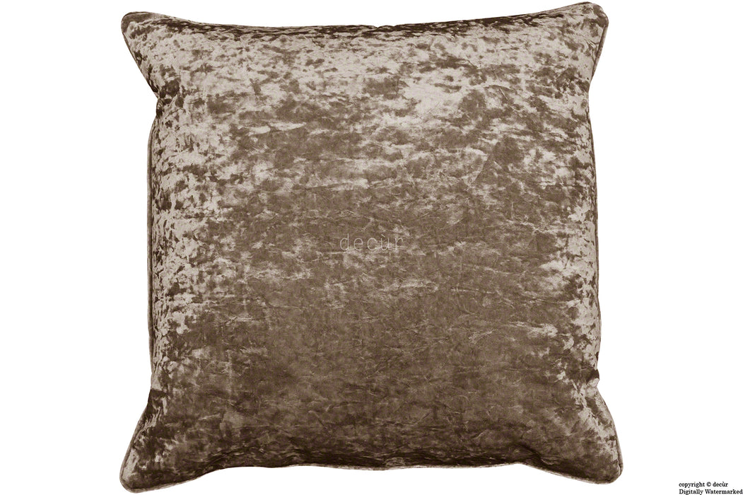 Serenity Crushed Velvet Cushion - Chocolate