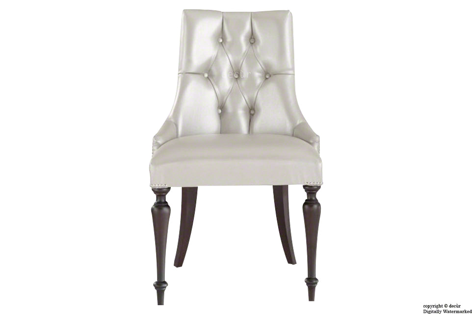 Louis Winged Deep Buttoned Dining Chair - White