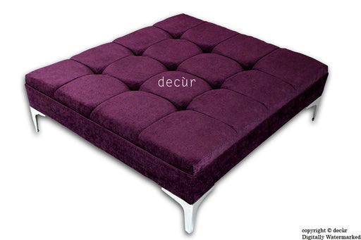 Mila Large Buttoned Footstool - Aubergine with Optional Storage