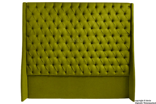 Abbingdon Buttoned Winged Velvet Headboard - Grass