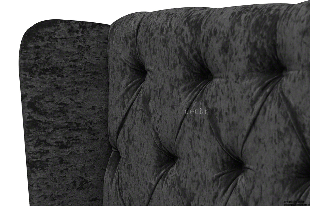 Elizabeth Winged Buttoned Crushed Velvet Headboard - Ebony