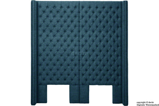 Beauchamp Buttoned Courtyard Linen Headboard Midnight Blue