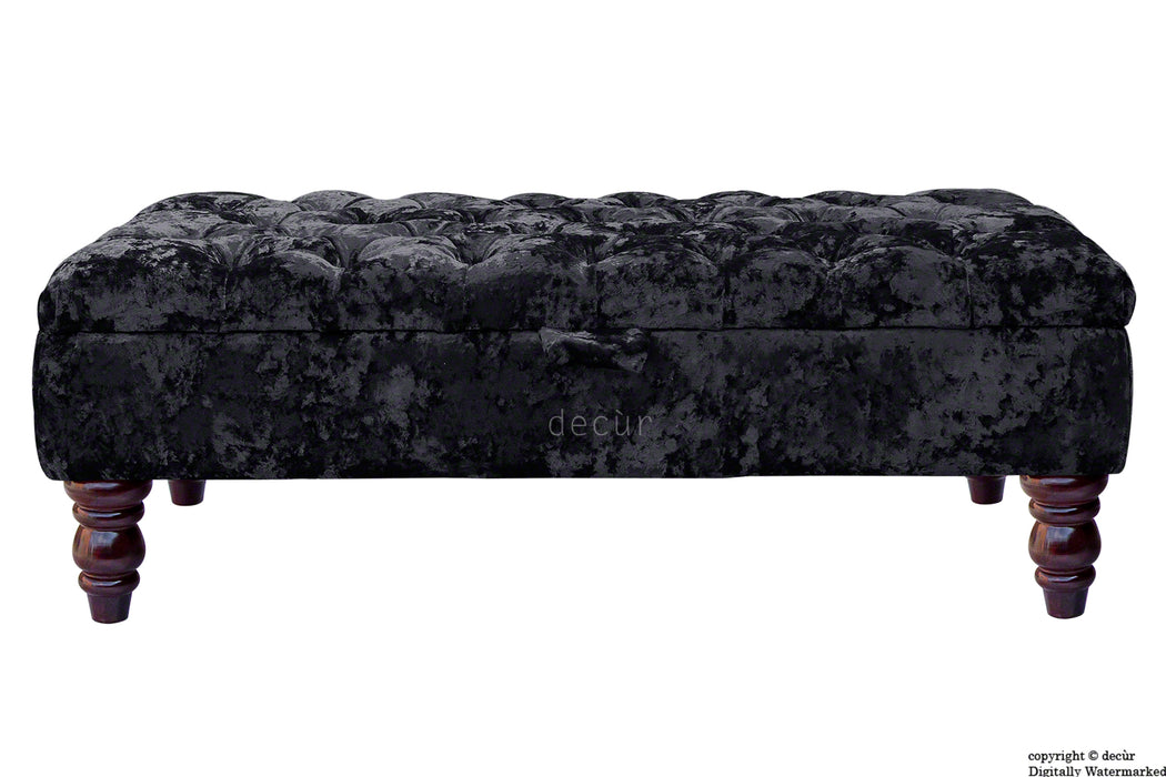 Tiffany Buttoned Crushed Velvet Footstool - Night with Optional Storage