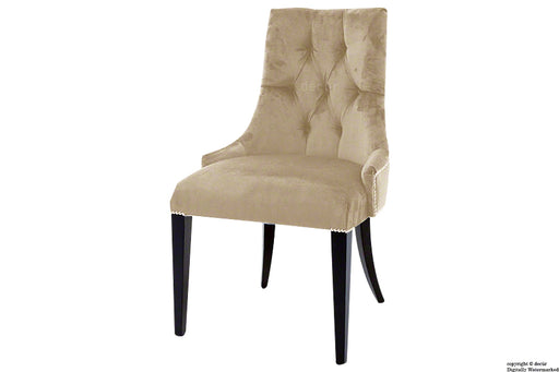 Magdalin Deep Buttoned Velvet Dining Chair  - Parchment