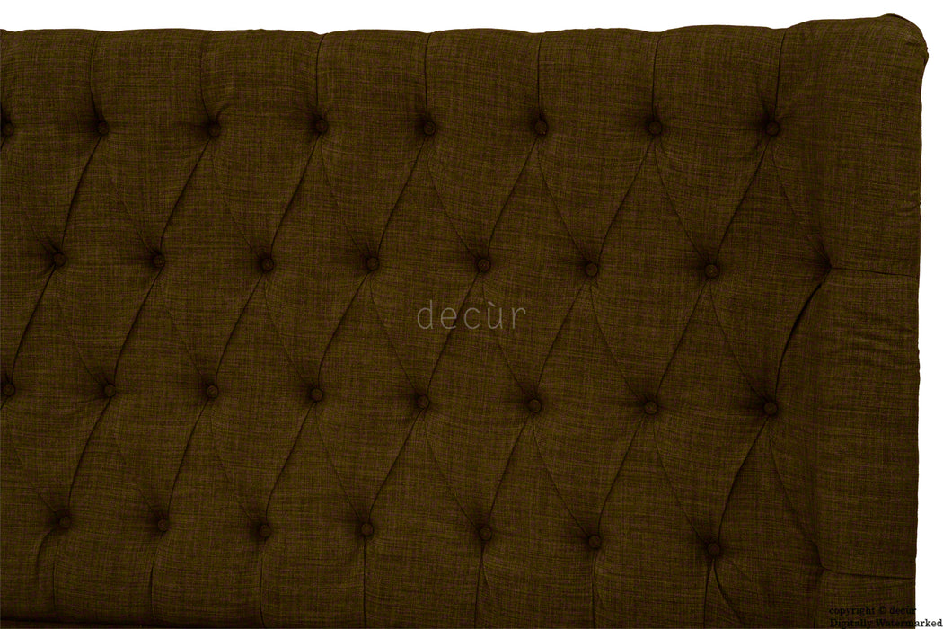 Hollyrood Buttoned Linen Winged Headboard - Brown