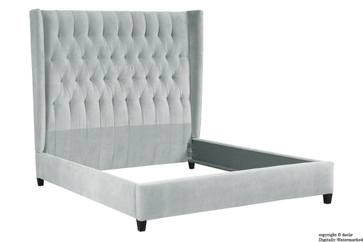 Adlington Velvet Upholstered Winged Bed - Silver