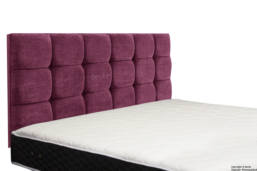 Grace Mila Buttoned 3 Tier Headboard - Aubergine