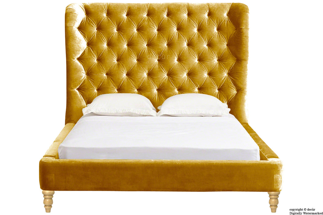 Knightsbridge Winged Velvet Upholstered Bed - Gold